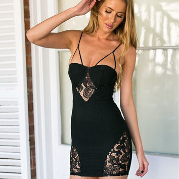Women's Fashion Sexy Spaghetti Strap Backless Lace Patchwork Skirt One Piece Dress [4970283524]