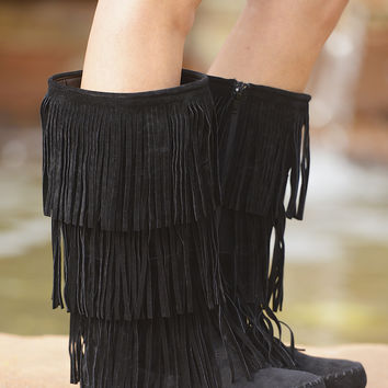 California To Carolina Fringe Boots - Black