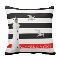 Hygge Summer on Black white red stripes lighthouse Throw Pillow