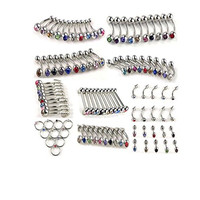 WIIPU 10Styles 100pcs Stainless Steel Belly Tongue Eyebrow Lip Ear Barbell Piercing