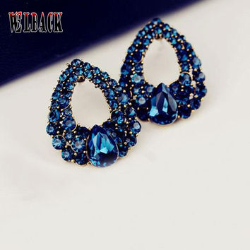 2016 New arrival Celebrity wind waterdrops blue rhinestone fashion boutique crystal stud earrings for woman 9 colors