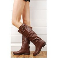 Bamboo Montage01n Brown Back Zipper Leatherette Riding Boots and Womens Fashion Clothing & Shoes - Make Me Chic