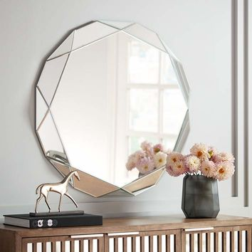 """Griffin Geometric Angle Cut 33"""" Round Wall Mirror - #24K38 