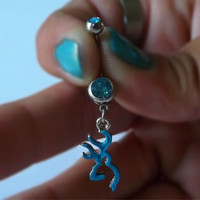 Browning Deer Head Turquoise Blue Rhinestone Belly Ring Body Jewelry