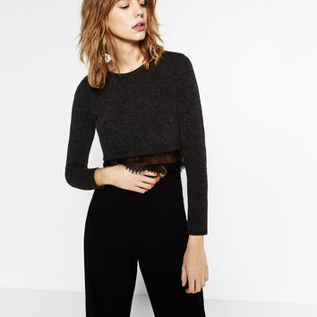 CROPPED SWEATER WITH BLONDE-LACE HEM