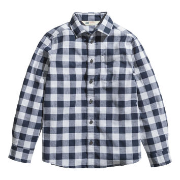 H&M - Husky Cotton Shirt - Dark blue - Kids