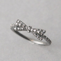 CUBIC ZIRCONIA SPACKLING BLACK BOW RING BLACK BOW JEWELRY from Kellinsilver.com