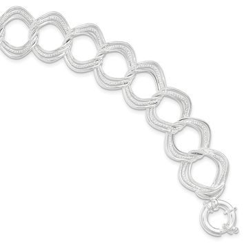 Sterling Silver Polished And Textured Circles Link Bracelet