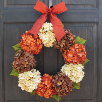 Fall Wreath, Thanksgiving Door Decoration, Orange Cream & Brown Hydrangea Wreath