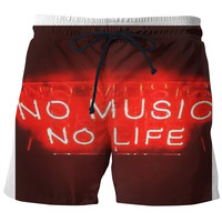 copewhope no music no life swim trunks