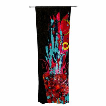 "Frederic Levy-Hadida ""Psychedelic Bouquet"" Red Black Arabesque Nature Digital Illustration Decorative Sheer Curtain"