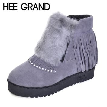 HEE GRAND Inner Increased Winter Ankle Boots Warm Fringe Fashion Platform Women Snow Boots Shoes Woman creepers 3 Colors XWX6180