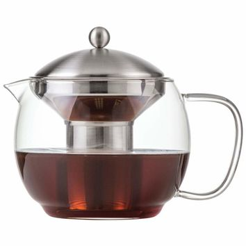 40 oz Microwaveable Glass Tea Pot with Stainless Steel Infuser