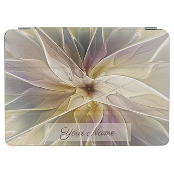 Floral Fantasy Gold Aubergine Fractal Art Name iPad Pro Cover