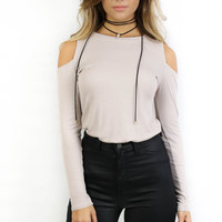 Stonegate Beige Off The Shoulder Knit Top
