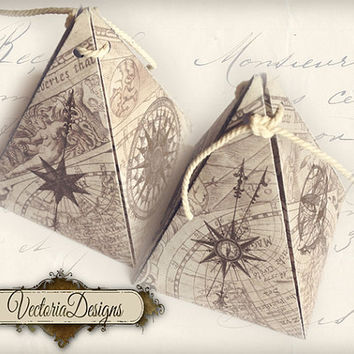 INSTANT DOWNLOAD Maps and Compass Steampunk pyramid box vintage printable images digital collage sheet 400