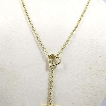 Peter Brams Designs Necklace. Heart Toggle Watch Chain Slide Necklace. 14K Yellow Gold. Peter Brams Design Jewelry