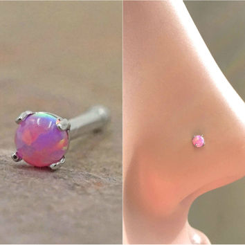 Pink Fire Opal Nose Ring Nose Stud