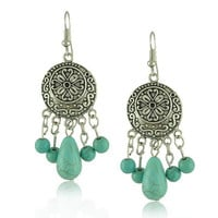 Bohemian Ethnic Carved Turquoise Tassel Channel Brincos Long Earring for Women