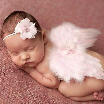 Newborn Baby Feather Lace Headband Angel Wings Flowers / 4 color choices