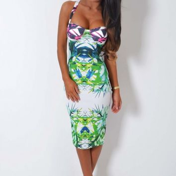 Bella Bamba Slimming Illusion Print Padded Bust Midi Dress | Pink Boutique