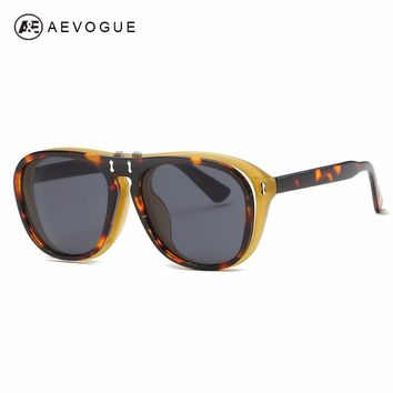 AEVOGUE Sunglasses Womens Plastic Flip Up Big Frame Retro Steampunk Clip On Eyewear For Men Clamshell Optiacal Glasses AE0580