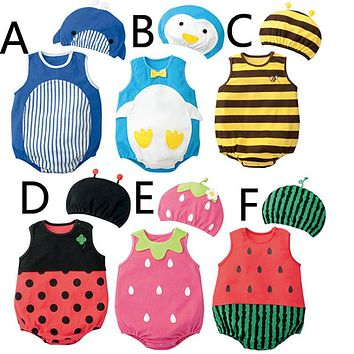 Watermelon baby bodysuit+hat Baby Boy Girl Summer Strawberry fruit animal Cotton Jumpsuit Infant Toddler ladybug sharp Costumes