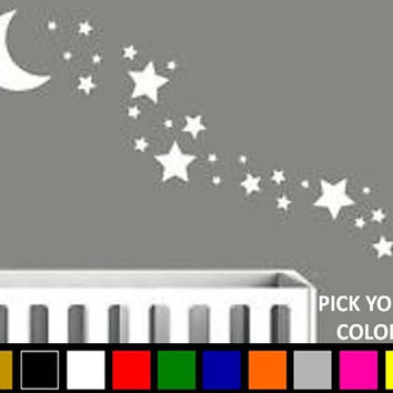 Moon and Stars Vinyl Wall Decal/Sticker