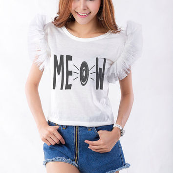 Cat Meow Shirt Tank Top Cool Fashion Girls Women Funny Cute Teens Dope Teenagers Tumblr Clothing