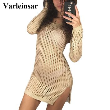 2018 Sheer See Through Sexy Knitted Crochet Tunic Beach Cover Up Cover-ups Beach Dress Beach Wear Beachwear Female Women V96