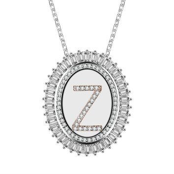 Oval Two-Tone Cubic Zirconia Alphabet Pendant Necklace with 26 Initial Letters from A-Z, 18""