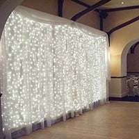 18W Window Curtain Light, Icicles Christmas Fairy String Light, 5000K daylight Extendable 300 LEDs 8 Modes Decorative Starry Light for Festival/Wedding/Party/Garden