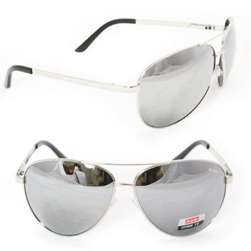 MLC EYEWEAR Aviator Sunglasses 5007 Silver Metal Mirror Reflect Lens for Men and Women