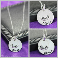 "Two-Layer Hand-stamped Name Necklace in Sterling Silver 1/2"" and 3/4""  - great for moms or grandmas"