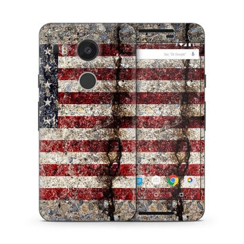 Rustic Cracked Concrete American Flag Skin for the Google Nexus
