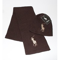 """Polo Ralph Lauren"" Winter Popular Women Men Knit Warmer Hat Cap Scarf Two Piece Set Coffee"