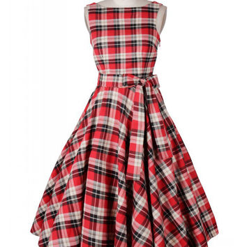 Red Plaid Sleeveless Shetah Mini Tent Dress