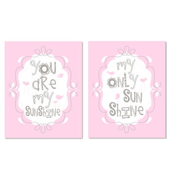 You Are My Sunshine Art print set in pink and gray 8x10 Cusom colors available by YassisPlace