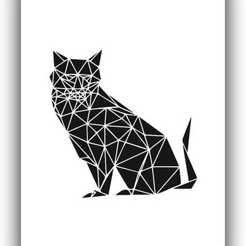 Geometric Cat Black and White Print Art, Printable File, Geometric origami Cat Black and Whith - Modern Wall Home Decor Digital Print *108*