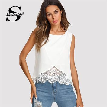 Sheinside Lace Insert Wrap Front Top Women White Round Neck Wrap Plain Vest Summer Regular Fit Sleeveless Casual Tank
