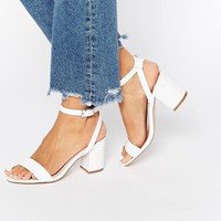 Faith Drake White Barely There Kitten heel Sandals