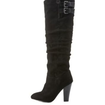 Black Slouchy Stacked Heel Boots with Buckles by Charlotte Russe