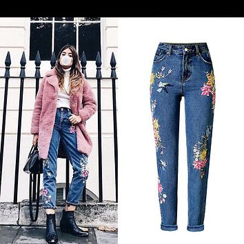 Sherhure 2017 Vintage Bird Embroidery Jeans Woman American Apparel High Waist Jeans High Quality Casual Denim Pants Jeans Femme