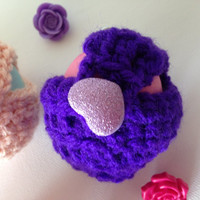 Purple EOS Lip Balm Cozy/Holder with Sparkly Lavender Button Closure, Split Ring, and Lobster Clasp for Clip-On