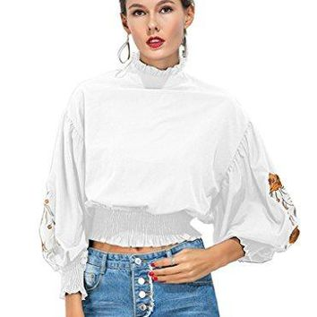CHIC DIARY Womens Ruffle Neck Puff Sleeve Floral Embroidery TShirt Blouse