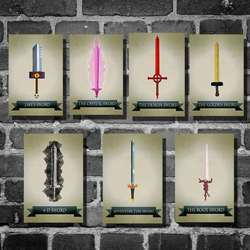 All 7 Adventure Time sword posters movie art finn and jake minimalist poster geekery art print cartoon print