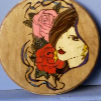Beautiful Woman with Roses Circular Plaque for Home Decor