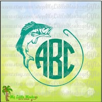 Fish and Hook Monogram Base Design Digital Clipart and Cut File Instant Download Full Color Jpeg, Png, SVG, DXF EPS Files