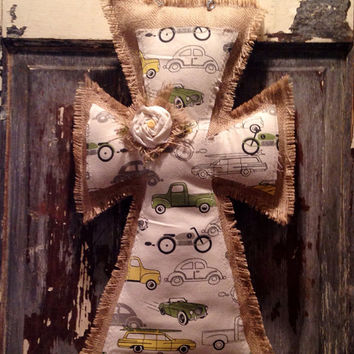 Medium Vintage Car Burlap Hanger