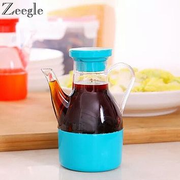Transparent Leak-proof Oil Vinegar Bottle Kitchen Seasoning Bottle Spice Jar Vinegar Oil Soy Sauce Pot Spice Cans
